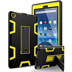 All-New Amazon Kindle Fire HD 8 Tablet Case,SKYLMW[Heavy Duty]Three-Layer Shockproof Impact Resistant Protective Case Cover with Kickstand for Amazon Fire HD 8 Tablet(2017 7th Generation),Black Yellow