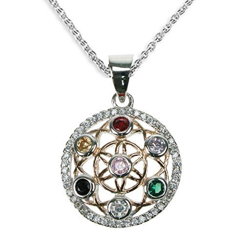 Mirabella BellaMira Silver Flower of Life Amethyst Orgone Sacred Geometry Spiritual Pendant Necklace Jewellery (Sterling Silver Multi CZ (Heavy))
