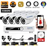 Eyedea HDMI Video Recorder 8CH 1080N 3500TVL Remote Phone View Standalone and Network 960P Surveillance AHD Waterproof Outdoor LED Night Vision CCTV Security 4 Camera System 1TB Hard drive