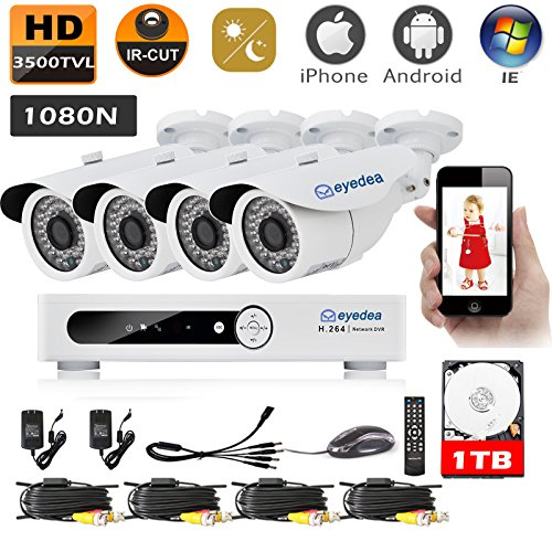 Eyedea HDMI Video Recorder 8CH 1080N 3500TVL Remote Phone View Standalone and Network 960P Surveillance AHD Waterproof Outdoor LED Night Vision CCTV Security 4 Camera System 1TB Hard drive -  D8708A-4xC125W8-1TB