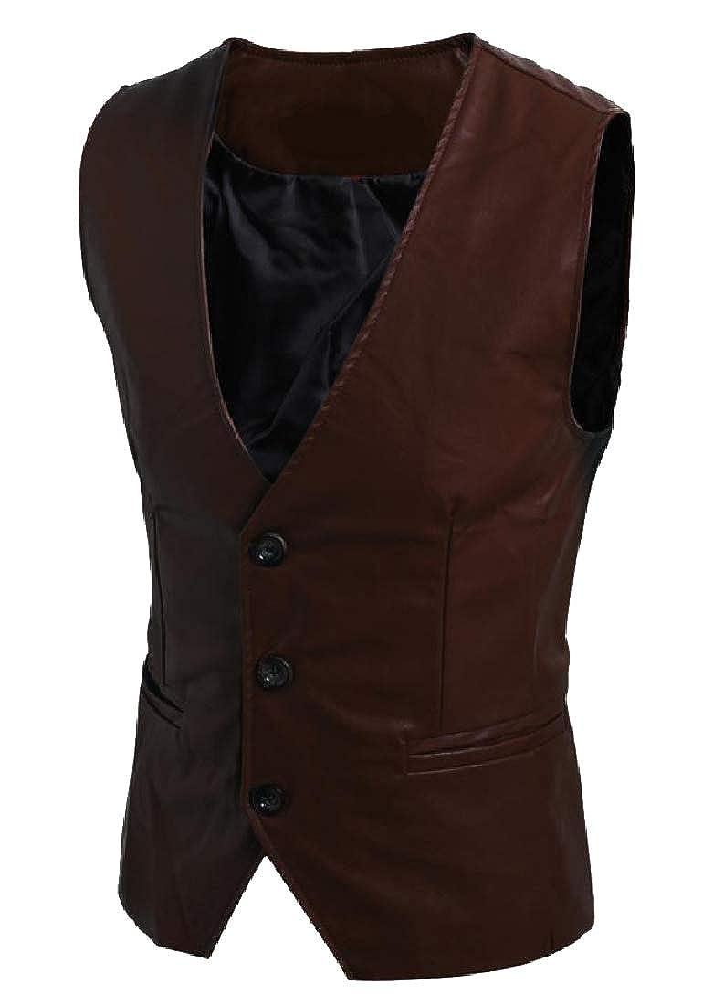 Tootca Mens Classic Fit Raw Cut Hem Imitation Leather Down Vest