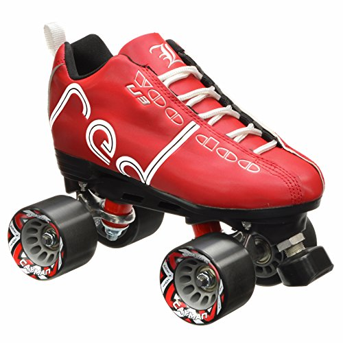 New! Labeda Voodoo U3 Quad Roller Speed Skates Customized Red Skate w/ Black Cayman Wheels! (Mens 9 / Ladies 10) (Labeda Boot)