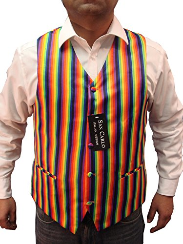 Men`s Rainbow Design Quality Waistcoat & Bowtie Set Weddings/Balls/Parties And For Any Other Events (XXL, Rainbow) by Elegance123 (Image #2)