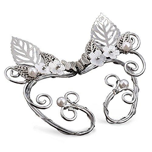 Elf Ear Cuffs, Aifeer 1 Pair Pearl Beads Filigree Fairy Elven Cosplay Fantasy Handcraft Ear Cuffs (Leaf (Elven Ear Tips)