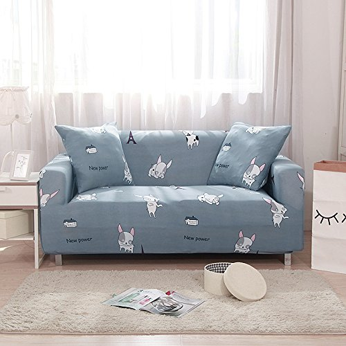 Stretch Anti-Slip Couch Covers , Sofa Covers For 2 Cushion Couch Loveseat Furniture Protector Cover Protector Knit Fabric 1 2 3 4 Seater Sofa Slipcover Gray Dog Design By - Twill Brushed Sofa Slipcover