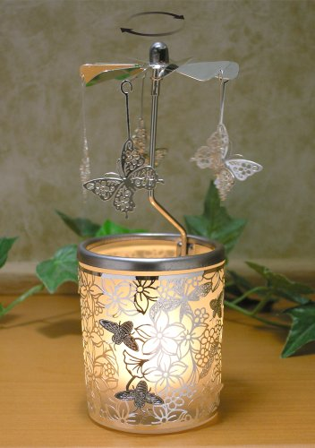 Candle Butterfly (BANBERRY DESIGNS Spinning Butterfly Candle Holder with Flowers and Bees Scandinavian Design)
