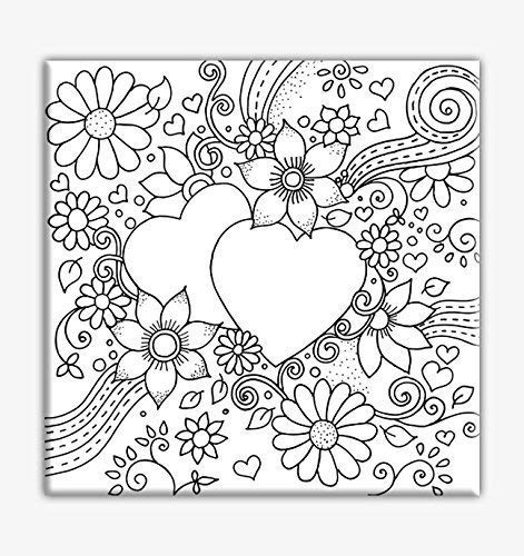 Hearts Coloring Canvas For Adults, Stretched primed canvas to color 8 x 8 Inches
