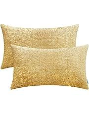 CaliTime Kussenhoezen Set van 2 Knusse Sierkussenhoezen Gevallen voor Bank Sofa Woondecoratie Effen Geverfd Zacht Chenille 30cm x 50cm gouden