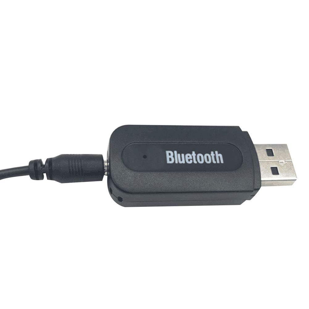 NAttnJf Trasmettitore Audio Portatile USB Bluetooth Wireless Receiver da 3,5 mm Cavo AUX Nero