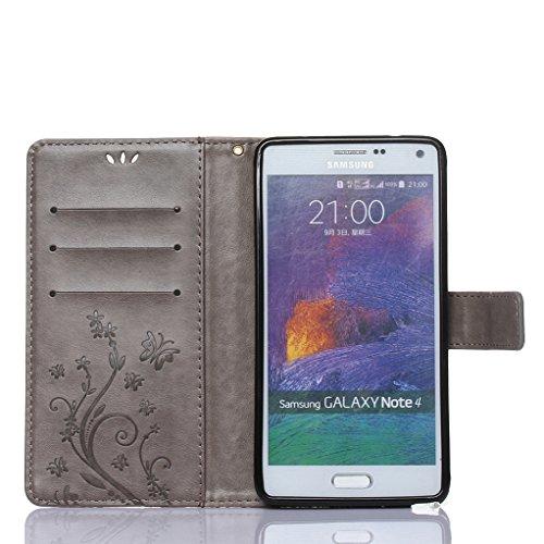 Trumpshop Smartphone Carcasa Funda protección para Samsung Galaxy Note 4 + Rojo + PU Cuero Caja Protector Billetera con la Ranura la Tarjeta Choque Absorción Gris