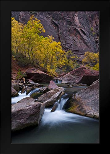 UT, Zion NP Waterfall with Cottonwood Trees Framed Art Print by Rotenberg, ()