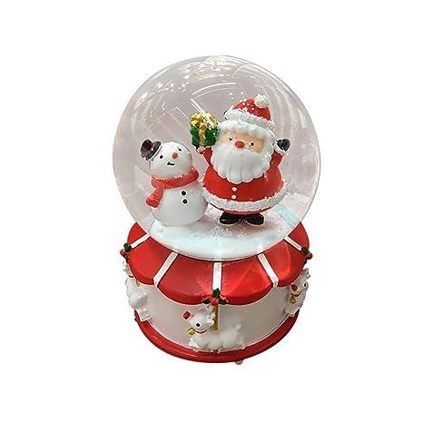 heling896 Feliz Navidad Casa de Nieve Bola de Cristal Luminoso Caja de música de Papá Noel