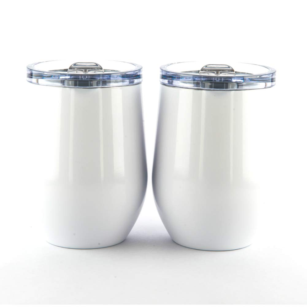 TumblerDown | Wine Tumbler Glass Stainless Steel Double Wall, Insulated 12oz Stemless 2 Pack Set With Lid, Unbreakable Wine Cup. BONUS GIFT INSIDE!