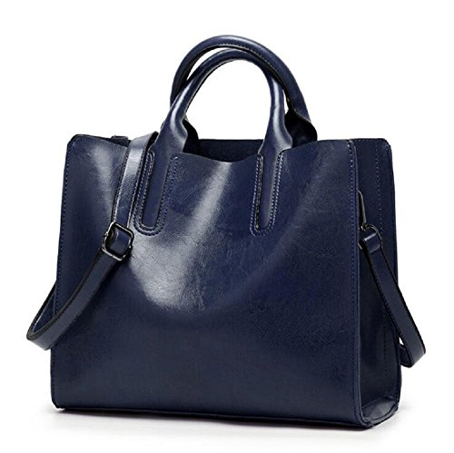 Bag Handle Girls Top blue Leather Fashion Navy Shoulder Shoulder Oil Satchel Bag with Handbag Ladies Elegant Wax Handbags Vintage FYw6xYpvq
