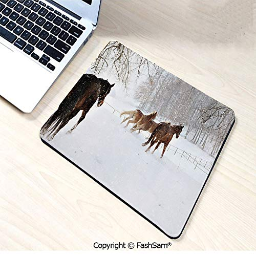 (Mouse Pads Horses in The Snow Playing Having Fun in The Forest Seasonal Animal Photography for Home(W9.85xL11.8))