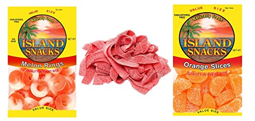 Island Snacks Fruits Variety Pack of 3, 1 each of Orange Slices 11 oz, Strawbery Belts 3.7 oz and Watermelon Slice 8 (Slice Belt)