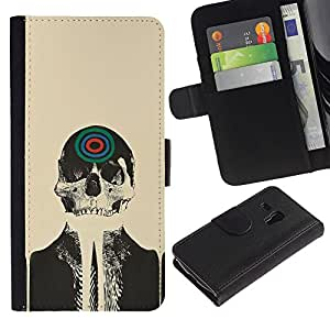 "Samsung Galaxy S3 MINI / i8190 (Not For Galaxy S3) , la tarjeta de Crédito Slots PU Funda de cuero Monedero caso cubierta de piel ("" Skull Skeleton Art Target Drawing Painting Head"")"