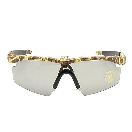 EnzoDate Gafas de Sol polarizadas Gafas de Militares del ejército los Hombres Frame 3/4 Lente Agencia de Juego de Guerra eyeshields(Camuflaje, ...