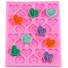 26 Heart Alphabet Letter Silicone Fondant Mould Cake Decorating Chocolate Mold Baking Tools