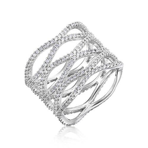 Cubic Zirconia Open Wave Micro Pave CZ Wide Band Ring Size 9 By Kezef (Pave Filigree Ring)