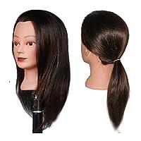 HairZtar 100% Human Hair 20-21 Mannequin Head Hairdresser Training Head Manikin Cosmetology Doll Head (CORA)
