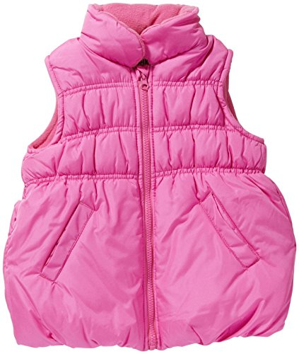 Osh Kosh Little Girls' Solid Bubble Puffer Vest, Pink, 5/6 ()
