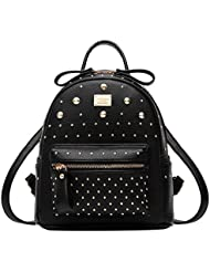 ABage Womens Mini Backpack Purse Casual Rivet Studded PU Leather Daypack Backpack