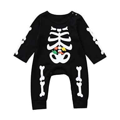 WINLISTING Niño Bebé Halloween Hueso Monos Casual Caramelo ...