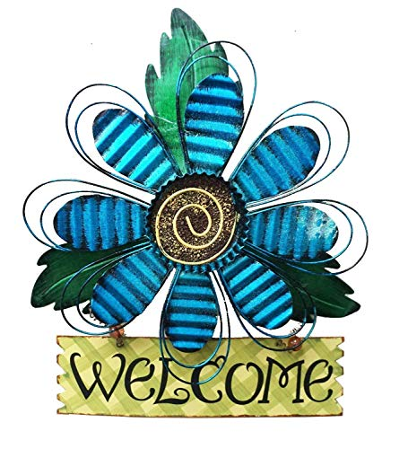 - Large Rustic Metal Blue Flower Welcome Wall Art Decor Hanging Metal Flower Welcome Door Wreath Kitchen Living Room Bathroom Patio Garden Yard Wall Decoration