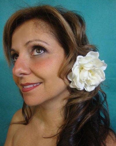 - Ivory Velvet Magnolia Gardenia Hair Flower Clip