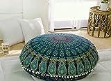 "bohemian living room Popular Handicrafts Kp834 Large Hippie Mandala Floor Pillow Cover - Cushion Cover - Pouf Cover Round Bohemian Yoga Decor Floor Cushion Case- 32"" Blue Tarqouish"