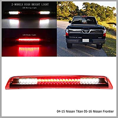 Sanzitop Fit for 04-15 Nissan Titan 05-16 Nissan Frontier LED 3rd Brake Light Rear Tail Brake Light Cargo Lamp Rear Lamp 26590-EA800 (Chrome Housing Red Lens): Automotive
