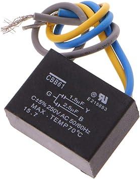 LIUXIA CBB61 - Condensador para Ventilador de Techo (3 Cables, 1,5 ...