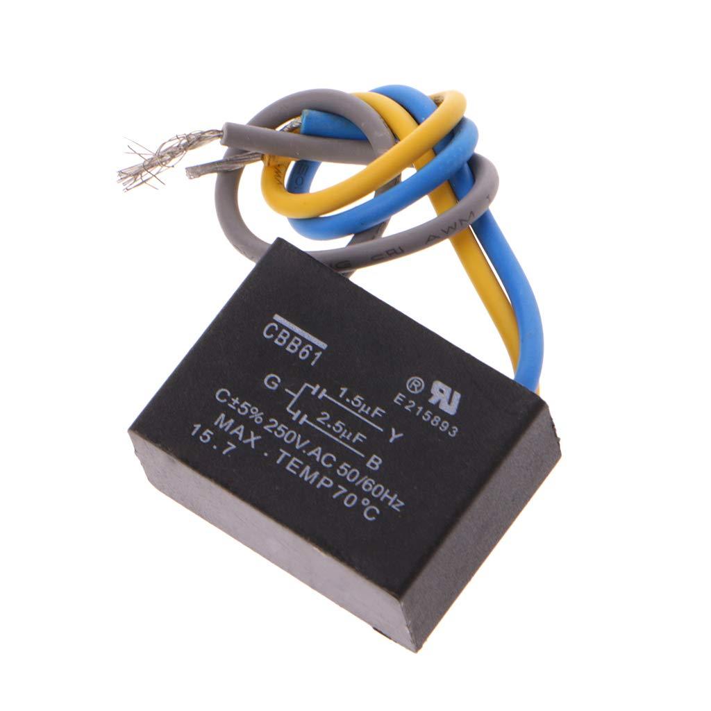2.5uF 3 cables CA 250 V 50//60 Hz condensador para ventilador de techo Negro CBB61 1.5uF Bogji
