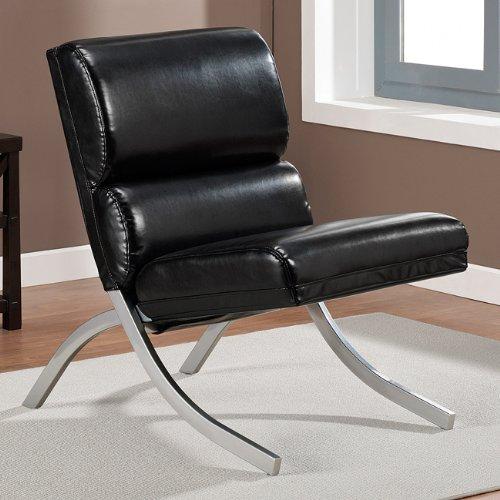 Contemporary Modern Unique Faux,Bonded Leather Foam Chair Black