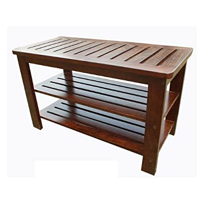 D-art Mahogany Michaela Home Office Outdoor Entryway Wooden Shoe Storage Rack Bench