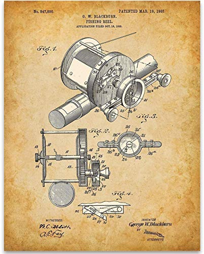 1905 Fishing Reel Patent – 11×14 Unframed Patent Print – Great Lake House and Cabin Decor or Gift Under $ 15 for Fishermen