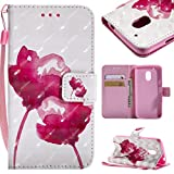 Moto G4 Play Case, BONROY Premium Fashion colorful painting pattern PU Leather Wallet Flip Case Cover with [Credit Card Slots] [Magnetic Closure] and Stand Function Bumper Protective Cover For Moto G4 Play - Red Ros