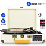 DIGITNOW! Record player Turntable with Multi-function Bluetooth/FM Radio/USB to MP3 Recorder/SDcard/PC Recording, Rechargeable battery and suitcase design.