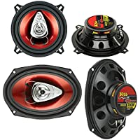2) BOSS CH5530 5.25 3-Way 225W + Boss CH6920 6x9 2-Way 350W Car Audio Speakers
