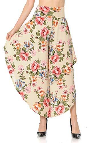 Ladybug Women's Layered Wide Leg Flowy Cropped Palazzo Pants, 3/4 Length High Waist Palazzo Wide Legs Capri Pants (Small, 1082-A Flower)
