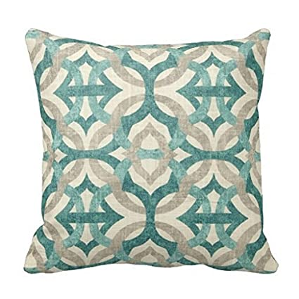 Image Unavailable. Image not available for. Color  Tan And Teal Blue  Graphic Art Throw Pillow Case 08ef686ecc1a