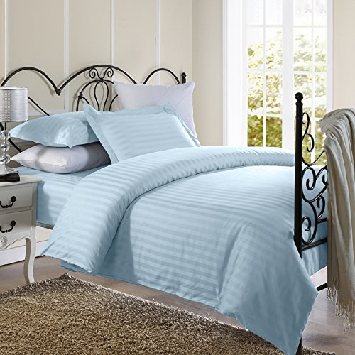 Ellington Home 1800 Series 3 Piece Damask Stripe Duvet Cover Set (Full/Queen, Light (Ellington Three Light)