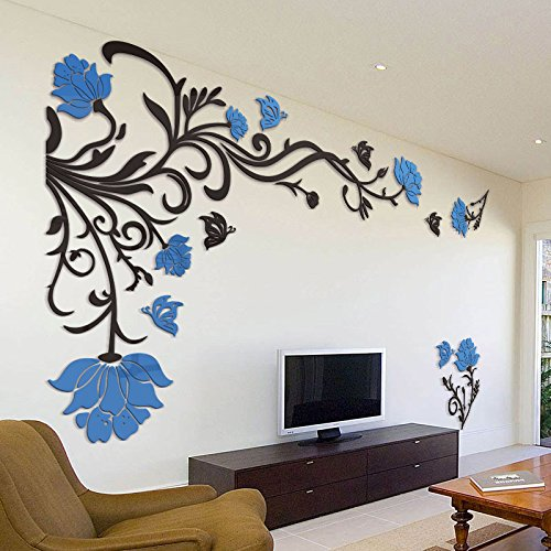JMHWALL 3D Flower Rattan Wall Stickers Home Decor Living Room Art TV Background Acrylic Mirrored Decorative Sticker Wall Decoration,blue you,200CM X ()