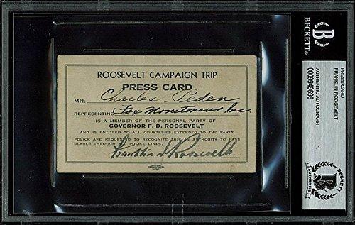 Franklin D. Roosevelt Signed 2.25x4 Roosevelt Campaign Tr...