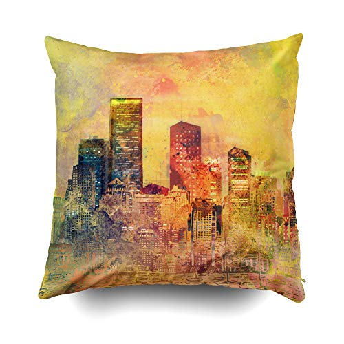 EMMTEEY Home Decor Throw Pillowcase for Sofa Cushion Cover, Halloween Abstract City Scape Digital Art Body Decorative Square Accent Zippered and Double Sided Printing Pillow Case Covers -