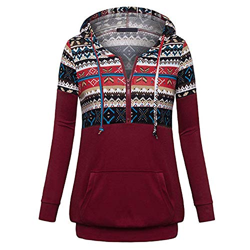 iBOXO Women Christmas Print Stitching Hooded Pullover Sweatshirt Top Blouse(Wine Red,L) ()