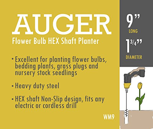 Non-Slip Willard /& May Flower Bulb HEX Shaft Drill Planter 1.75 by 9 inch Bulb /& Bedding Plant Auger