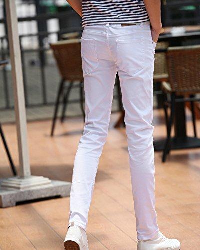 Gioventù Straight Uomo Bianco Pantaloni Jeans Elasticità Maschi Sottile Casual PzpgSqw
