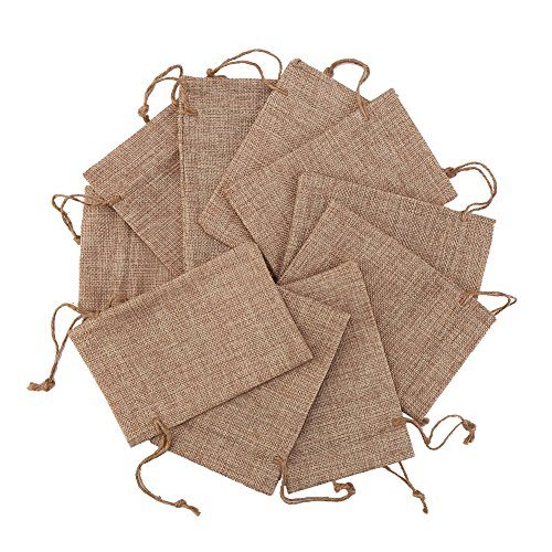 DECORA 50 Pieces 4x6 Inch Burlap Drawstrings Gift Bag Jute Hessian Linen Pouches Sacks for Wedding Jewelry Party Favors